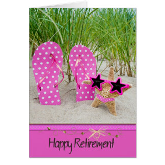 Retirement-starfish and flip-flops card