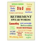 Retirement Swear Words! Retirement Humour Card