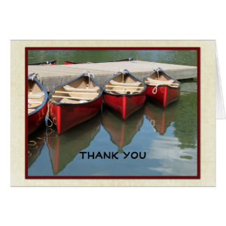 Retirement Thank You Note, Three Red Canoes Note Card