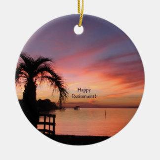 Retirment Florida Sunset Ceramic Ornament