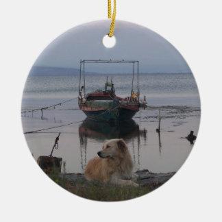 Retriever by the sea. ceramic ornament