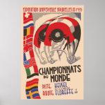 Retro 1930s art deco design cycling poster