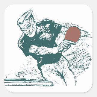 Retro 1930s drawing table tennis square sticker