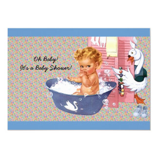 "Retro 1940s Baby Boy Shower 5"" X 7"" Invitation Card"