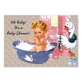 """Retro 1940s Baby Boy Shower V2 3.5"""" X 5"""" Invitation Card"""