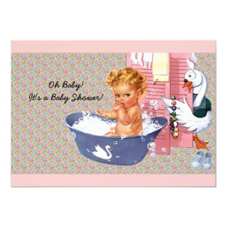 "Retro 1940s Baby Shower 5"" X 7"" Invitation Card"