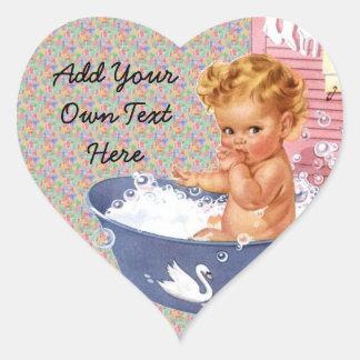 Retro 1940s Baby Heart Sticker