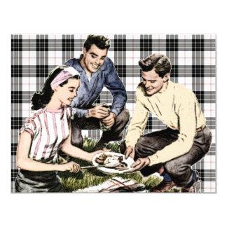 """Retro 1940s BBQ 4.25"""" X 5.5"""" Invitation Card"""