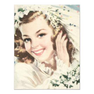 """Retro 1940s Bridal Shower 4.25"""" X 5.5"""" Invitation Card"""