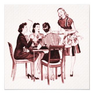 """Retro 1940s Card Party 5.25"""" Square Invitation Card"""