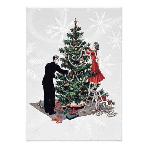 Retro 1940s Christmas Tree Announcements