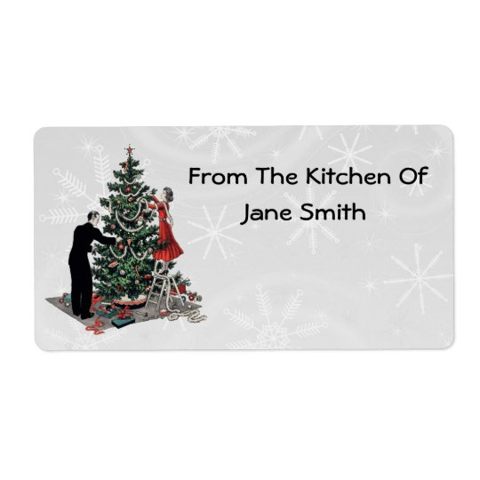 Retro 1940s Christmas Tree Kitchen Labels