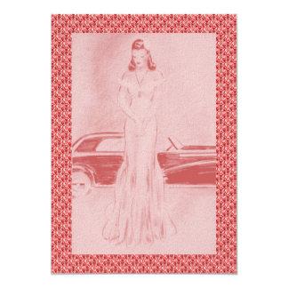 "Retro 1940s Dinner & Dancing 5"" X 7"" Invitation Card"