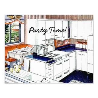 Retro 1940s Dinner Party 4.25x5.5 Paper Invitation Card