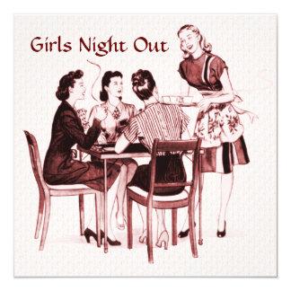 "Retro 1940s Girls Night Out 5.25"" Square Invitation Card"