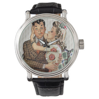Retro 1940s Kissing Couple Watch