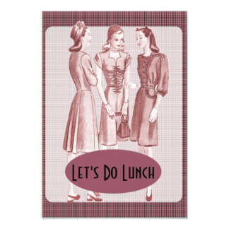 """Retro 1940s Luncheon V2B 3.5"""" X 5"""" Invitation Card"""