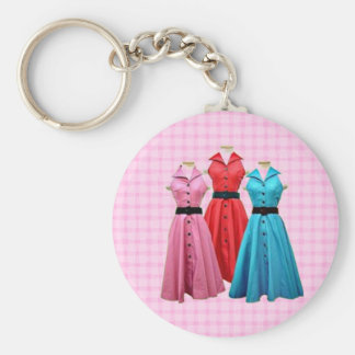 Retro 1950 Dresses Keychain