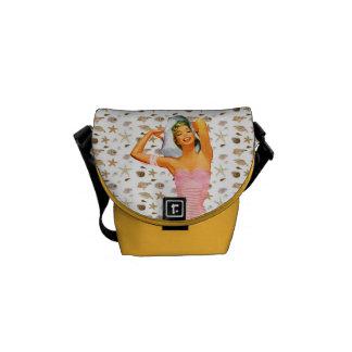 Retro 1950s Beach Beauty Messenger Bag