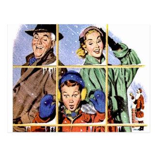Retro 1950s Christmas Window Postcard