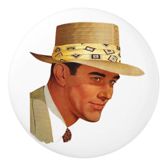 Retro 1950s Man Wearing Fedora Hat Ceramic Knob