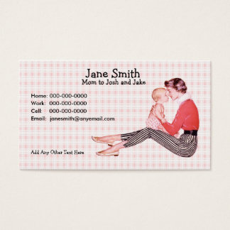 Retro 1950s Mom and Baby Contact Card