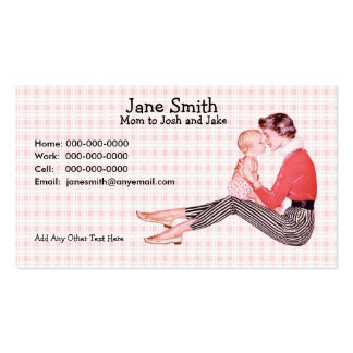 Retro 1950s Mom and Baby Contact Card Pack Of Standard Business Cards