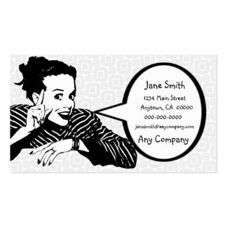 Retro 1950s Pointing Woman Business Card