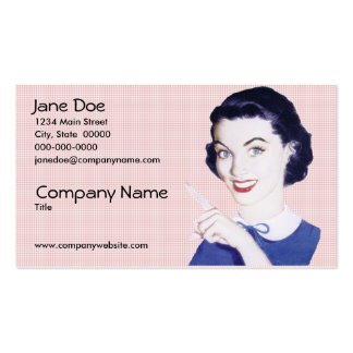 Retro 1950s Pointing Woman Pack Of Standard Business Cards
