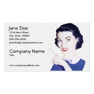 Retro 1950s Pointing Woman V2 Business Card