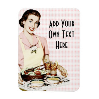 Retro 1950s Woman with Lunch Tray Magnet