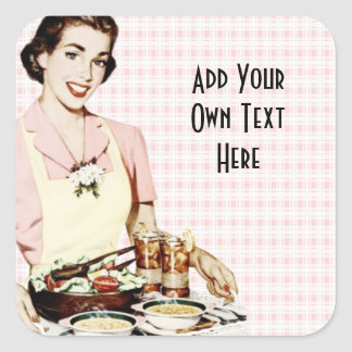 Retro 1950s Woman with Lunch Tray Square Sticker