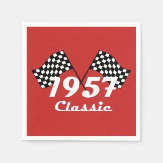 Retro 1957 Classic Black & White Checkered Flag Disposable Napkins