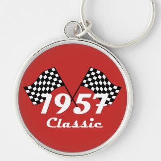 Retro 1957 Classic Black & White Checkered Flag Keychain