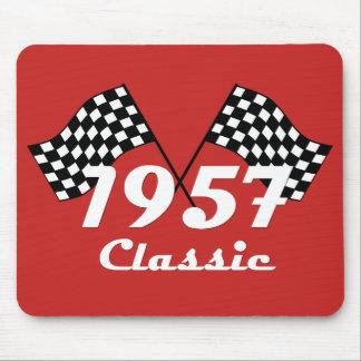 Retro 1957 Classic Black & White Checkered Flag Mouse Pad