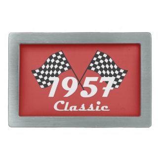 Retro 1957 Classic Black & White Checkered Flag Rectangular Belt Buckle