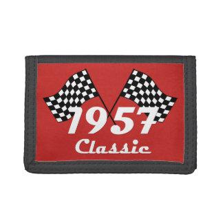 Retro 1957 Classic Black & White Checkered Flag Tri-fold Wallet