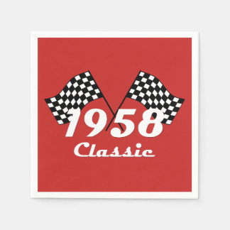Retro 1958 Classic Black & White Checked Race Flag Disposable Napkins