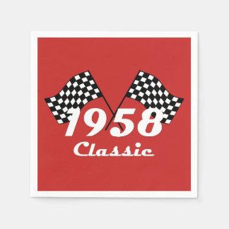 Retro 1958 Classic Black & White Checked Race Flag Paper Napkin