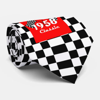 Retro 1958 Classic Black & White Checked Race Flag Tie