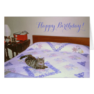 Retro 1960's Cat Laying Vintage Chenille Blanket Card