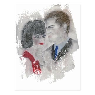 Retro 1960s Couple Splash Postcard