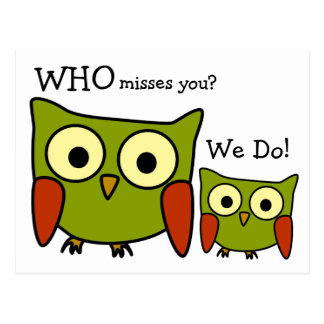 Retro 1960's Owl Miss You Postcard