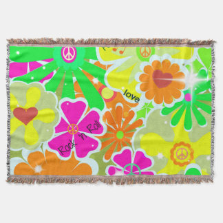 Retro 1960s: Peace, Love, Rock and Roll Throw Blanket