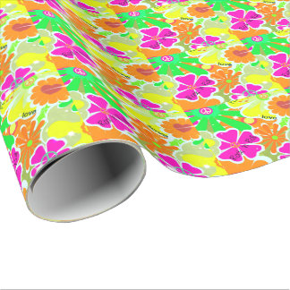 Retro 1960s: Peace, Love, Rock and Roll Wrapping Paper