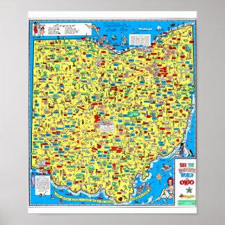 Retro 1966 Ohio Department of Highways map Poster