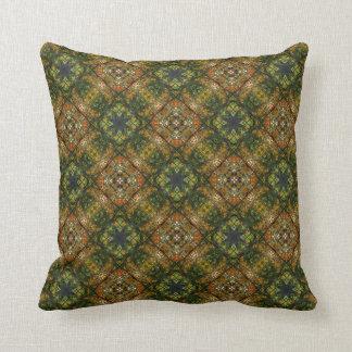 Retro 1970s Colors Ornate Rosette Cross Medallion Throw Pillow