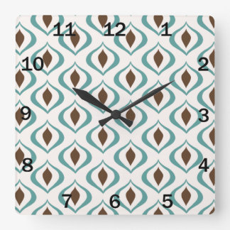 Retro 1970's Geometric Pattern in Brown and Green Square Wall Clock