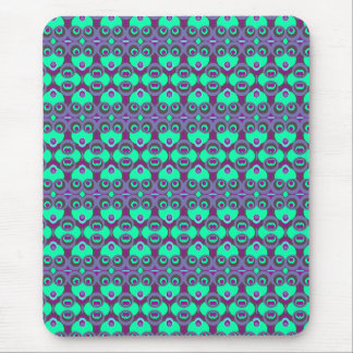 Retro 1970s kaleidoscope funny faces mouse pad