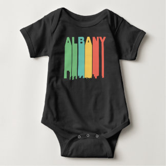 Retro 1970's Style Albany New York Skyline Baby Bodysuit